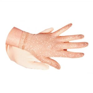 sheer mesh gloves in beige