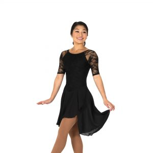 black lace figure skating dance dress