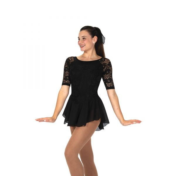 A black figure Skating Dress by Jerry's Skating World
