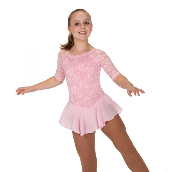 Flora Lace Figure Skating Dress - Soft Pink