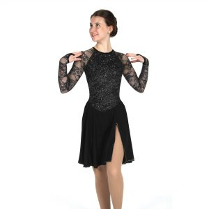 a jet black figure skating dance dress