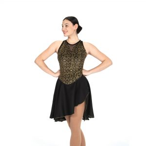 Black velvet figure skating dance dress